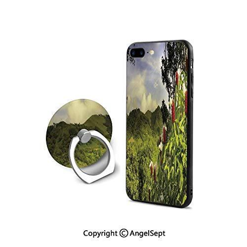 (iPhone 8 Case/iPhone 7 Case with Ring Holder Kickstand,Rural Scenery Costa Rica Countryside Greenery Tropic Accents Botanical,Retail Packaging,Green Red Violet Blue)