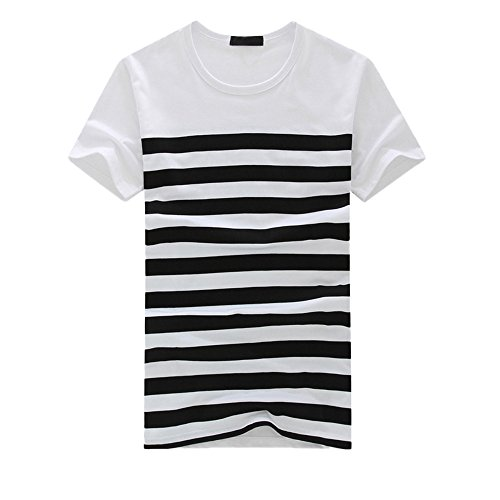 d36355297 vermers Men's Stripe T Shirts Fashion Casual Printed Short Sleeve Pullover Tops  Tee