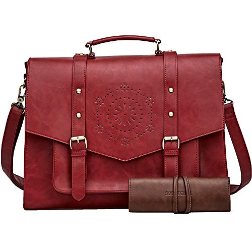 SOSATCHEL Faux Leather Vintage 15.6 Inch Laptop Bag, Messenger Satchel Shoulder Bag for Men and Women, Red