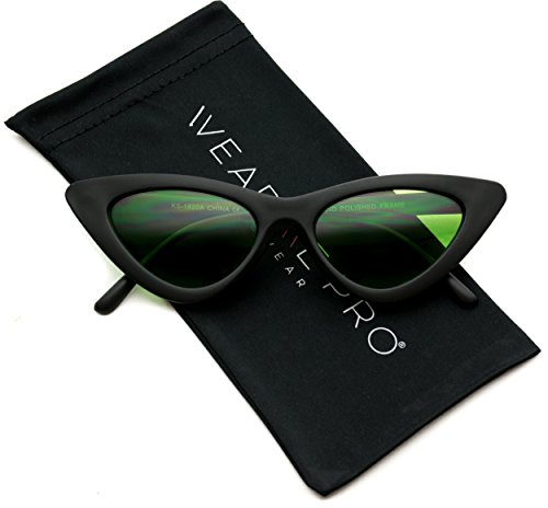 WearMe Pro - Retro Vintage Tinted Lens Cat Eye Sunglasses (Matte Black Frame / Tinted Green Lens, - Sunnies Sunglasses