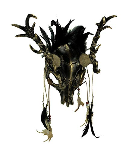 Metallic Tribal Skull Demon Deer with Feathers Adult Halloween Mask, Gold ()