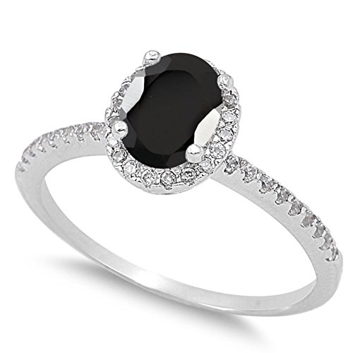 925 Sterling Silver Faceted Natural Genuine Black Onyx Oval Halo Ring Size 4