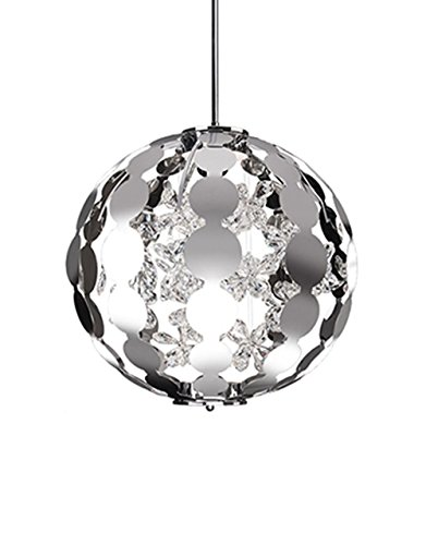 Flora 1 Light Pendant - Radionic Hi Tech K_PEN_7665 Kara 1 Light Chrome Pendant, 19
