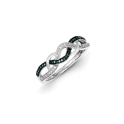 .15 Cttw (I2-I3 clarity) Blue&H-I White Diamond 5mm Woven Tapered Ring in Sterling Silver