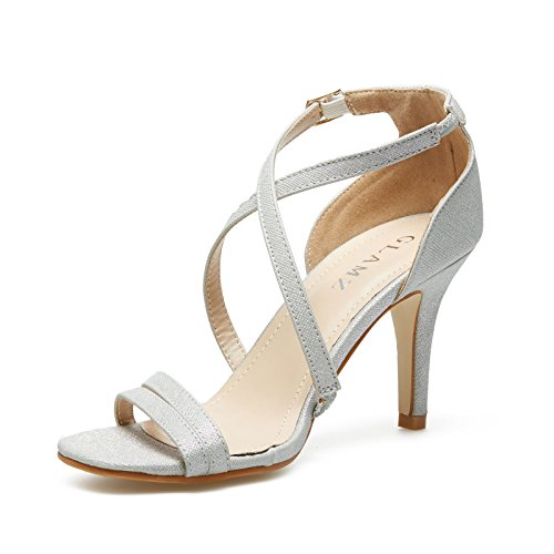 GLAMZ Sandalias Para Mujer Mujer plata