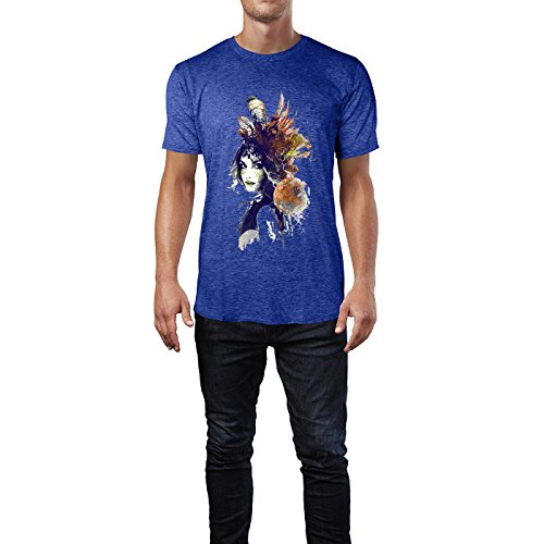 SINUS ART® Gemaltes Mädchen mit floralem Kopfschmuck Herren T-Shirts in Vintage Blau Cooles Fun Shirt mit tollen Aufdruck