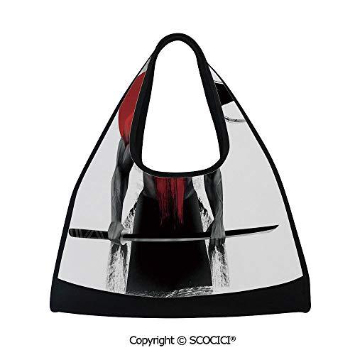 Badminton bag,Samurai Warrior Figure Sunburst Background Ronin Japan Indigenous War Theme,Bag for Women and Men(18.5x6.7x20 in) Red Black White ()