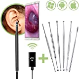 Ear Wax Removal System by SimpliWell - Compatible with iPhone, Android, PC and Mac - Wireless Otoscope with Camera, Adjustable LED Lights and 6 Professional Ear Pick Tools for Earwax Removal at Home