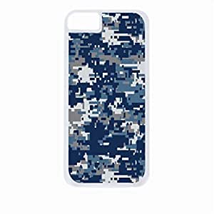 Blue and Grey Digital Camo - Case for the Apple Iphone 5s-5ss Universal-Hard White Plastic Outer Shell with Inner Soft Black Rubber Lining