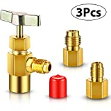 3 Pieces R134A Refrigerant Opening Valve 8401 Top Style Metal Can Tap 6015 Refrigerant Tank Vacuum Pump Adapter to R12 1/2 Female to 1/4 Male Flare 6014 Pump Adapter 1/4 Flare Female to 1/2 Male