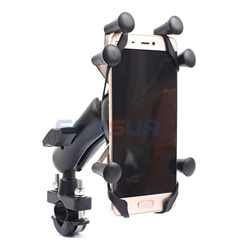 FOXSUR Handlebar Motorcycle Mount Universal 6 Claw Cell Phone Holder, Universal Mountain & Road Bike Bicycle Mount Holder Suitable 3.5-6.1 inch