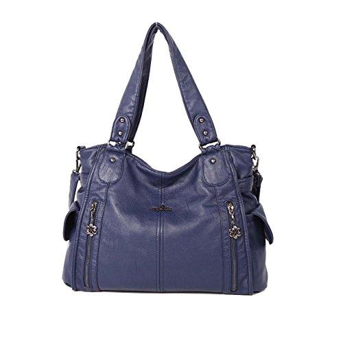 Angelkiss 2 cremalleras superiores bolsillos múltiples bolsos de las mujeres / bolsos de cuero lavados / bolsas de hombro 1193 (Rojo) Azul