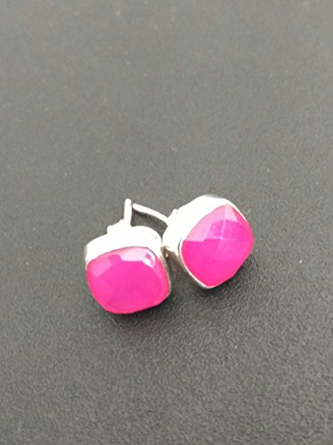 (Natural Faceted Pink Chalcedony Earrings, Pink Chalcedony Studs, Post Stud Earring, Gemstone Stud, 925 Sterling Silver Studs , Silver Studs, Gemstone Jewelry, Handmade Designer Hot Pink Chalcedony)