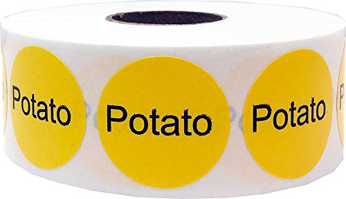 Yellow with Black Potato Circle Dot Adhesive Stickers, 1 Inch Round Labels, 500 Total Stickers (Solanum Potato)