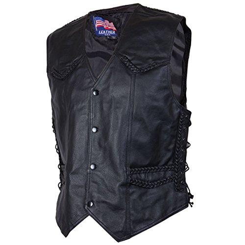 Mens 201B Black Braided Side Lace Leather Vest - X-Large