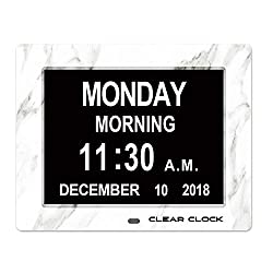 Clear Clock Marble Edition Dementia Clock Extra Large Memory Loss Digital Calendar Day Clock With 12 Alarms Big Letters Full Day And Date Without Abbreviations (White Marble)