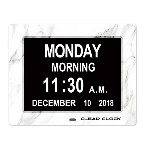 - Clear Clock Marble Edition Dementia Clock Extra Large Memory Loss Digital Calendar Day Clock With 12 Alarms Big Letters Full Day And Date Without Abbreviations (White Marble)