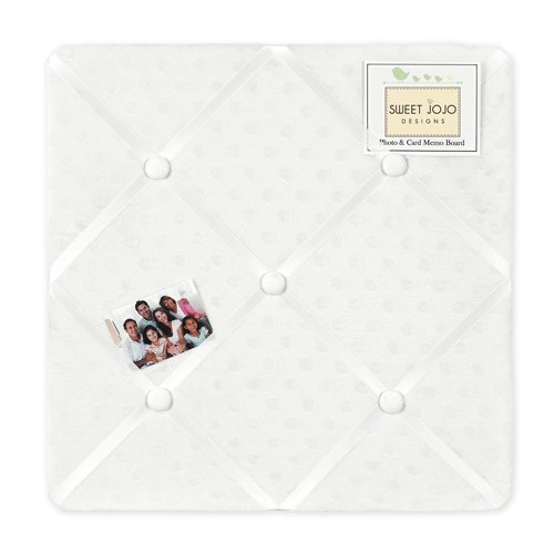 Solid White Minky Dot Fabric Memory/Memo Photo Bulletin Board by Sweet Jojo Designs (White Fabric Pin Board)