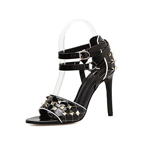 De Verano Mujeres Palabra 35 Black Moda Beige Remaches Baja 39 Tacones Zapatos Highxe Banquete Pescado Boca Hebilla Sandalias Para Primavera Altos Fino Y SpFcSOWfU