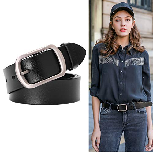 Genuine Black Leather Belts For Women With Pin Buckle Women Vintage Retro Bull Leather Belts For Jeans Pants Dress Ladies Waist Belt ()
