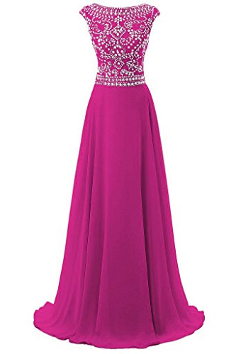 Women's Cap Sleeves Long Chiffon Bridesmaid Dress Evening Gown Prom Dresses Fuchsia US10 -