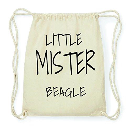 JOllify BEAGLE Hipster Turnbeutel Tasche Rucksack aus Baumwolle - Farbe: natur Design: Little Mister eIRhN