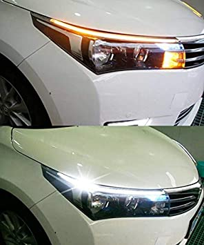 1-Set AMAZENAR Ultra-Bright 60CM White//Amber Switchback DRL Flexible LED Tube Strip Style Daytime Running Lights Tear Strip Car Headlight Turn Signal Light Parking Lamp
