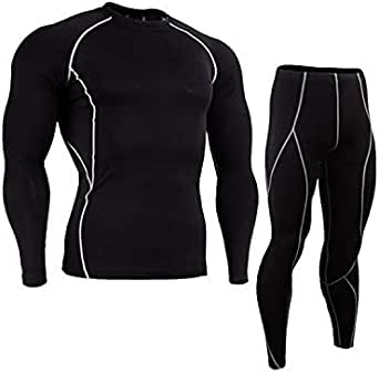 بدلة رياضية ضاغطة مكونة من بنطال وبلوزة بخط ابيض للرجال لممارسة الجري وتمارين اللياقة البدنية، مقاس XXL