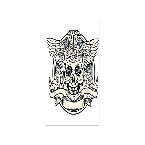 Decorative Privacy Window Film/Illustration of Calavera Diamond Figure and Roses Vintage Revival Decorative/No-Glue Self Static Cling for Home Bedroom Bathroom Kitchen Office Decor Cream Grey Black
