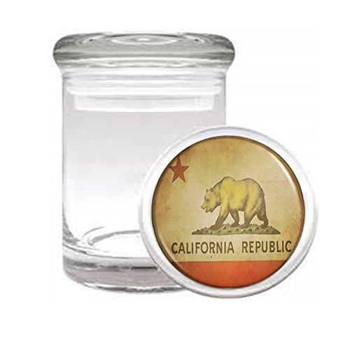 California Bear D3 Medical Glass Jar 3'' X 2'' Herb & Spices State Animal Bear Flag California Republic Cali