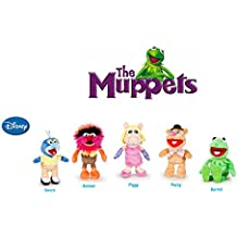 The Muppets - Pack 5 plush toy Quality super soft - Kermit the frog 22cm + Miss Piggy 20cm + Gonzo 19cm + Fozzie the bear 21cm + Animal 20cm