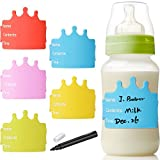 #3: TecUnite 5 Pieces Baby Bottle Labels Writable Reusable Silicone Labels for Baby Boys Girls Daycare (Multicolors)