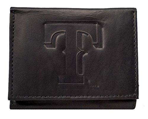 Texas Rangers Clip - Texas Rangers MLB Embossed Logo Black Leather Trifold Wallet