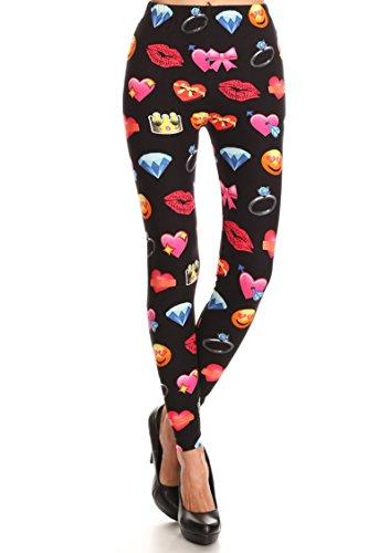 Leggings Mania Women's Emoji Print High Waist Soft Leggings Black Pink]()