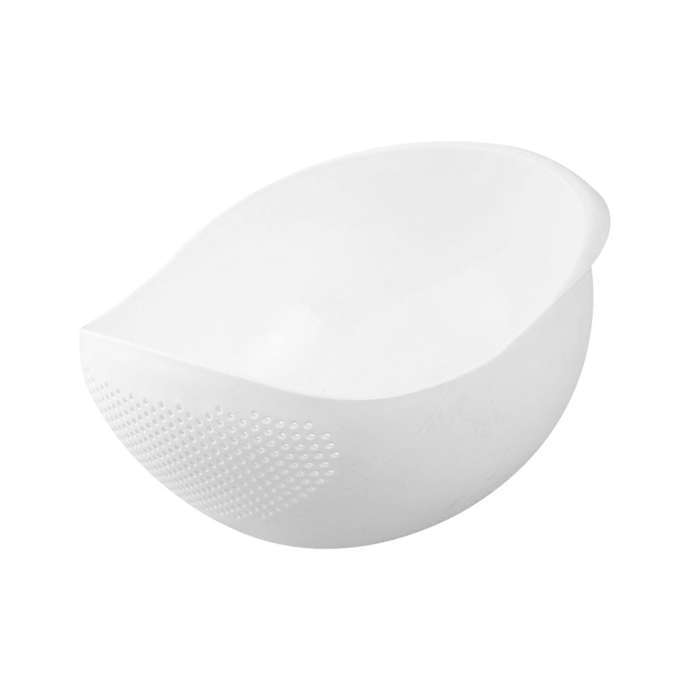 Rice Washer and Keeper, Deep Bowl with Side Colanders and Handle, Easy for Rice Fruits Vegetable Washing and Holding, White TBMax SYNCHKG112093