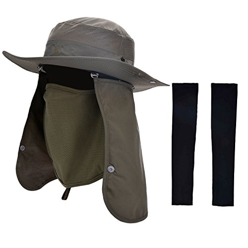 Protection Cowboy Sun (Zoylink Fishing Hat with 1 Pairs Sun Protection Sleeves Summer Outdoor Sun Protection Wide Brim Removable Mesh Neck Face Flap Fishing Cap for Men)