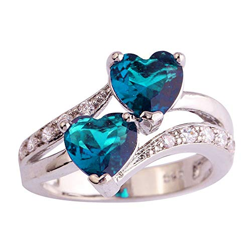 Baby Topaz Heart Ring - Londony ♪❤ Clearance Sales,Rings for Women Jewelry Gift Heart Cut Rainbow and White Topaz Gemstone Silver Ring