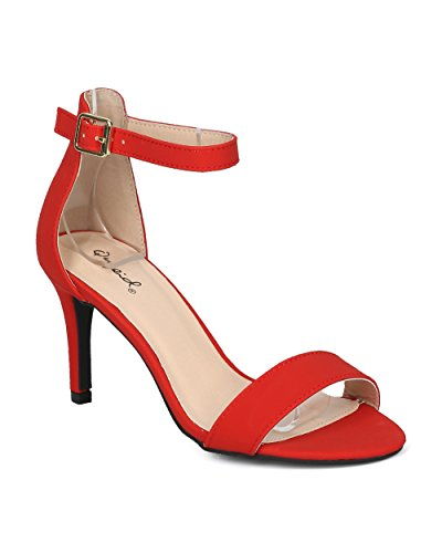 Alrisco Women Nubuck Open Toe Single Band Ankle Strap Stiletto Sandal - HG58 by Qupid Collection Red 6ElHvHwrz