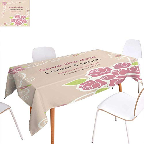 longbuyer Printed Tablecloth Invitation Card Vintage Style Rectangle/Oblong W 70