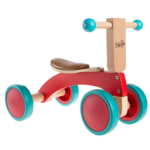Wood Ride (Hey!Play! 80-JW201 Walk Wooden Balance Bike for Toddlers 1-2 Years Old-Ride, Push, Or Pull Toy-Perfect for Boys and Girls)