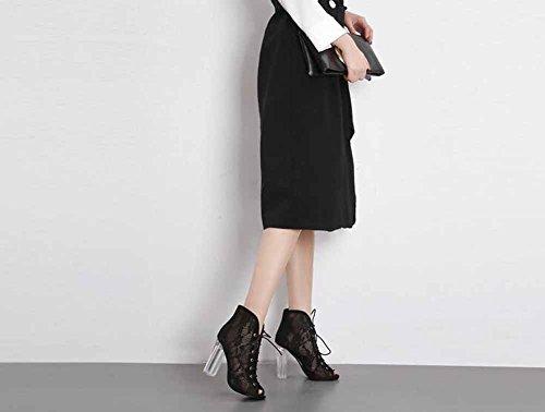 Sandali Nuovo Cinghia Tacco Pizzo Trasparente Romano Maglia Scarpe Black Attraversare Donne Freddo Cavo Stivali Alto v4qBUnZ