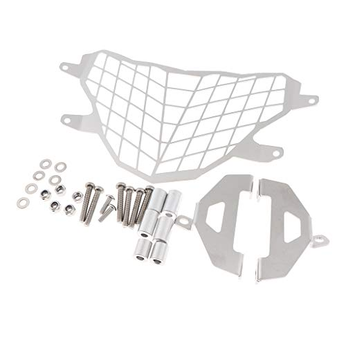 Almencla Metal Motorcycle Headlight Grille Cover + Headlamp Mounting Hardware for BMW G310GS 2017-2018, 9.8 x 6.3 inch - Silver