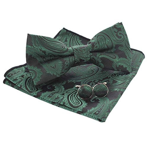 (JEMYGINS Mens Green Paisley Bow Tie and Pocket Square With Cufflinks Set (9))
