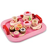 Buyger 19 PCS Wooden Tea Set Tray Kitchen Toy Role Play Game Food Accessories Kids Age 3+