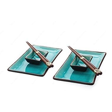 M.V. Trading MVCS-6BL Japnese Ocean Blue Sushi Set Crakle Design