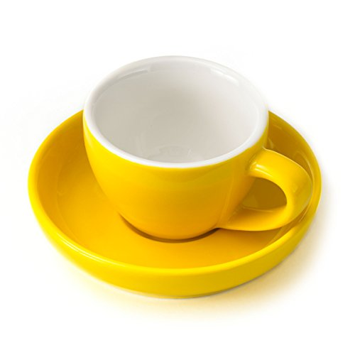 Espresso Cup and Saucer - (1 PC Set) 3-Ounce Demitasse for Coffee, Vibrant Color Choices, Durable Porcelain (Sunflower Yellow) by Easy Living Goods (Image #4)