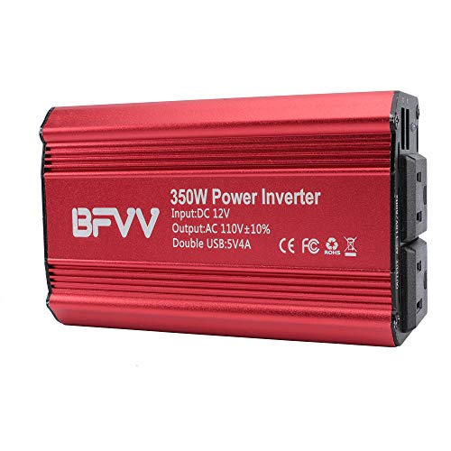 (BFVV 350W Power Inverter DC 12V to AC 110V Car Charger with 4.2A Dual USB Converter (Red))