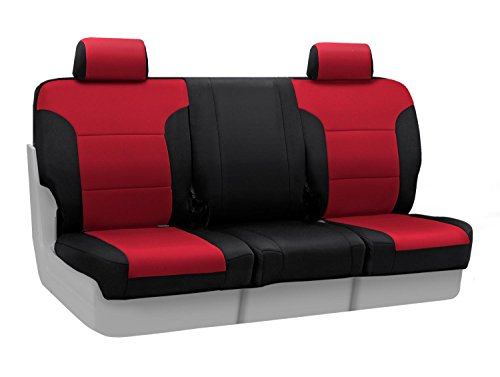 Coverking Custom Fit Front 40/20/40 Bench Seat Cover for Select Lincoln Town Car Models - Neosupreme (Red with Black Sides) ()