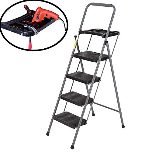 Easyzon Folding 4 Step Ladder with Tool Platform Tray Equipment Stool Ladder Lightweight for Indoor/Outdoor with Wide Anti-Slip Pedal, 330lbs Capacity