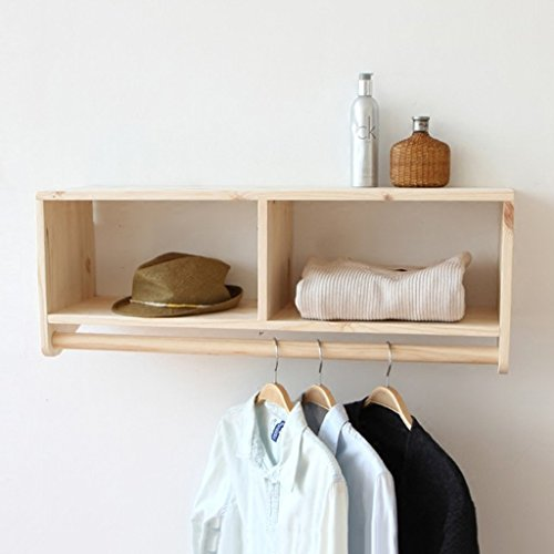 Solid Wood Wall Mounted Coat Rack Retro Combination Wall Hanger Double Partition Hook Hanger Suitable for Living/Bedroom/Study/Clothing Shop (8028cm)